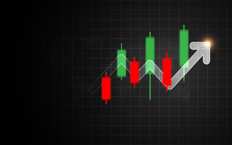 Sinal de castiçal Forex com gráfico de barras de seta. Conceito de indicador de negócios e investimento. Marketing e tema financeiro vetor
