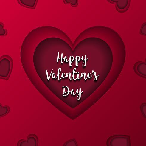 Feliz dia dos namorados cartão vector. Coração vermelho no componente médio. Conceito de amor e casal. Cartão postal e tema de arte de papel. Padrão sem emenda com uso de gradiente de cor vetor