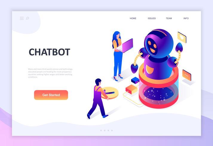 Conceito isométrico moderno design plano de Chat Bot e Marketing vetor