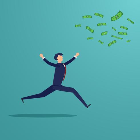 Empresário correndo para pegar notas de dinheiro que explodir. Negócios e conceito financeiro. Tema de pessoas de investimento de perda de lucro. Design gráfico de personagens. Ilustração vetorial para modelo de apresentação vetor
