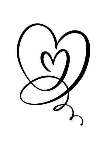 Mão desenhada dois sinal de amor do coração. Vetor de caligrafia romântica do dia dos namorados. Símbolo do ícone de Concepn para t-shirt, cartão postal, casamento de pôster. Ilustração de elemento plano de design