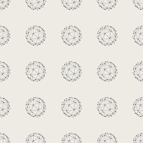 Sem costura de fundo. Conceito moderno abstrato e clássico antigo. Tema elegante design criativo geométrica. Vetor de ilustração. Cor preto e branco. Forma de círculo de linha de conexão de tecnologia
