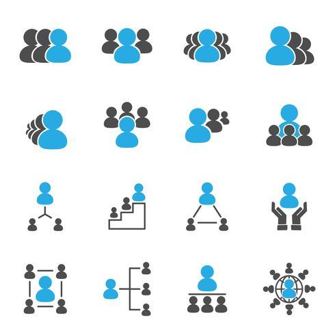 Ícones de líder e chefe. Conceito de negócio e pessoas. Conjunto de coleta de ilustração vetorial. Tema de sinal e símbolo. vetor