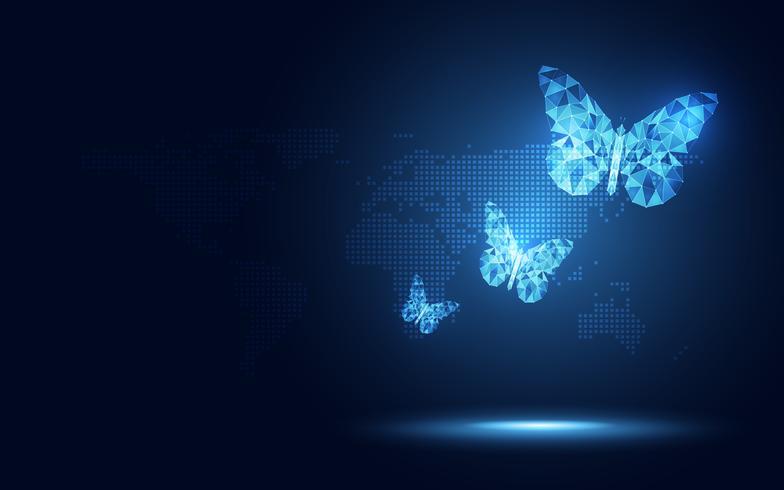 Fundo abstrato azul futurista da tecnologia da borboleta lowpoly. Transformação digital de inteligência artificial e conceito de big data. Conceito de evolução do negócio quantum internet rede comunicação vetor