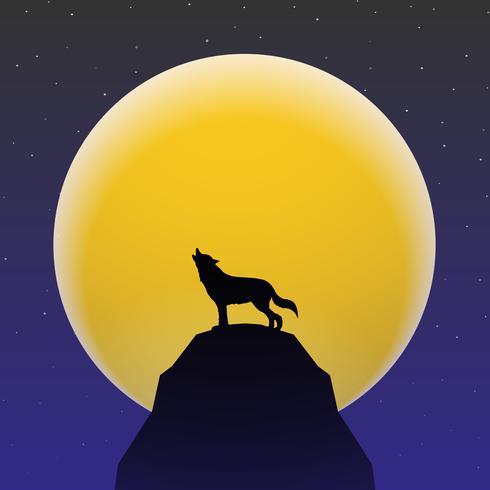 Lobo uivando em frente a Super Lua vetor