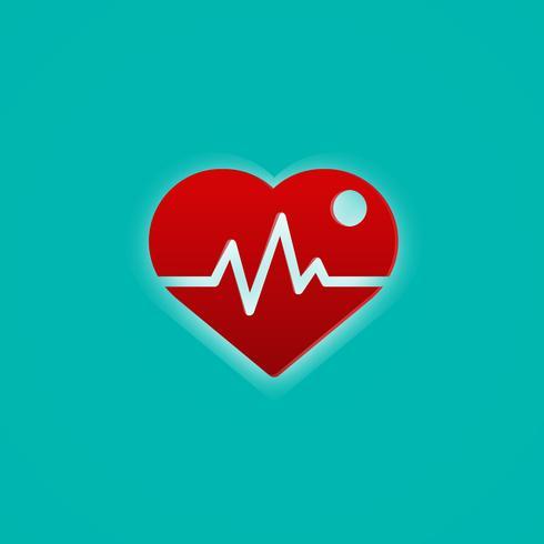 Coração vermelho com onda de pulso. Conceito médico e símbolo. Tema abstrato do ícone. vetor