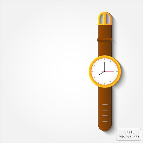 Relógio de ouro com pulseira de couro vetor