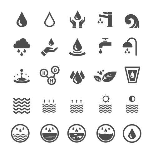Ícones de água. Natureza e conceito de economia de energia. Glifo e descreve o tema de ícones de traçado. Tema de sinal e símbolo. Conjunto de coleta de design gráfico de ilustração vetorial vetor