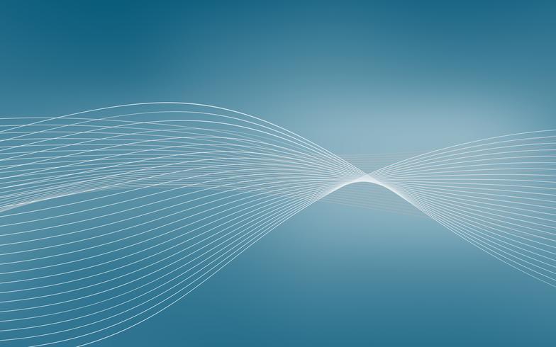 Onda azul abstrata que forma o fundo dinâmico do vetor com linhas. Vector illustartion. Para modelo de apresentação e outros projetos.