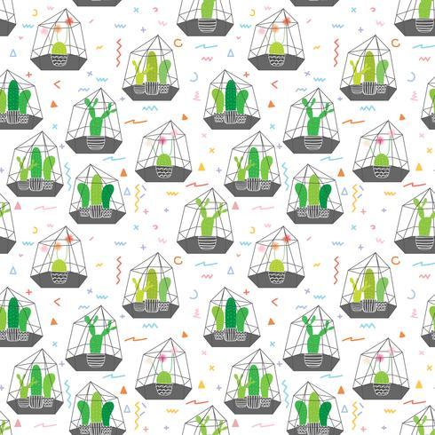 Cactos em terrários de vidro com fundo geométrico padrão. Ilustrações do vetor para o projeto do papel de embrulho.