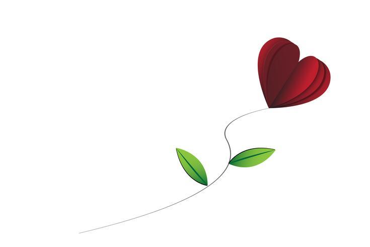 Coração-forma rosa com folhas no fundo branco isolado vetor