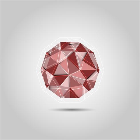 Ícone de vetor de forma de esfera polígono vermelho