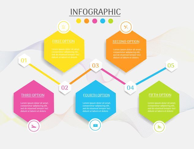 Projete o elemento infographic da carta das etapas do molde 5 do negócio com data do lugar para apresentações, vetor EPS10.