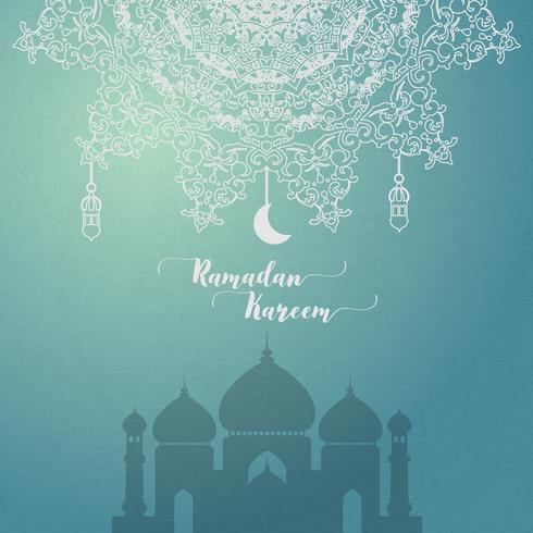 ramadan kareem saudação cartão islâmico vetor
