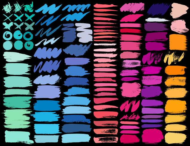 Grande conjunto de pinceladas coloridas, pinceladas de tinta colorida grunge. Ilustração vetorial vetor