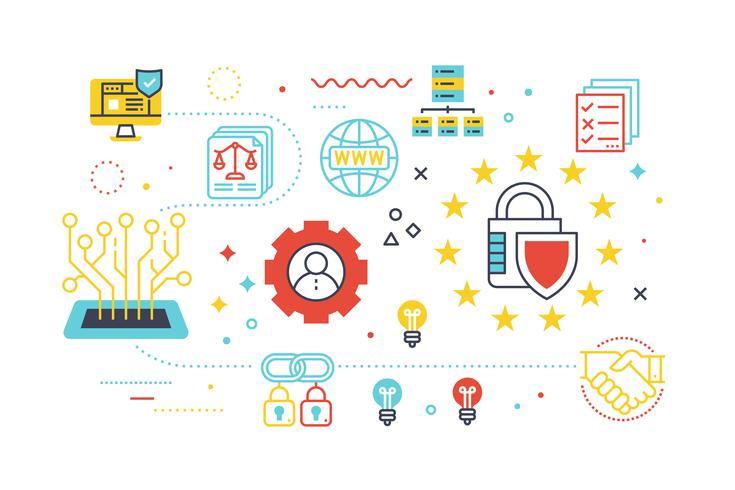 Ilustração de conceito de proteção de segurança de dados vetor
