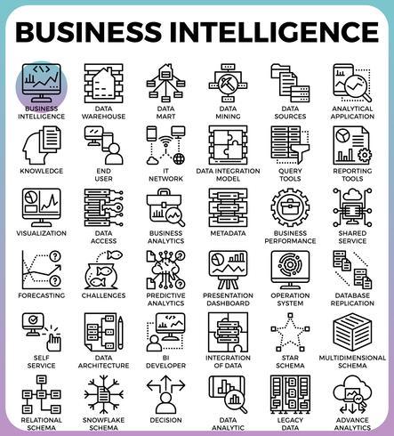Ícones de conceito de inteligência de negócios (BI) vetor
