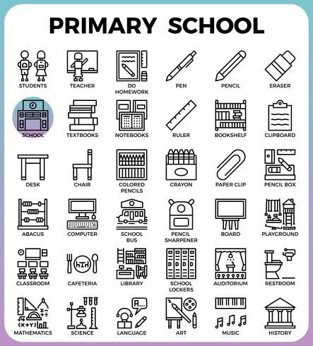 Conjunto de ícones da escola primária vetor