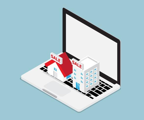 conceito imobiliário on-line vetor