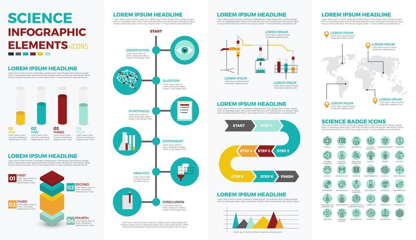 Elementos de infográfico de educação de ciência vetor