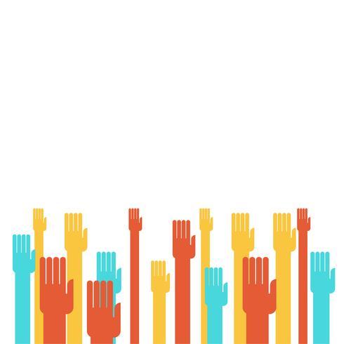 Mãos coloridas levantando vetor