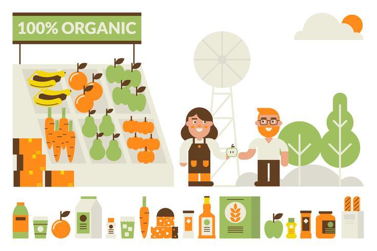 Conceito de mercado orgânico vetor