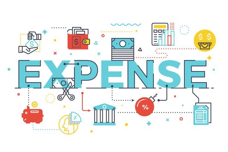 Ilustração de rotulação de palavra de despesa vetor
