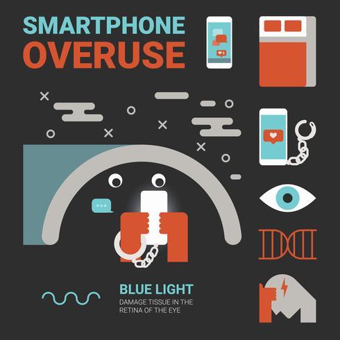 Uso excessivo de smartphones vetor
