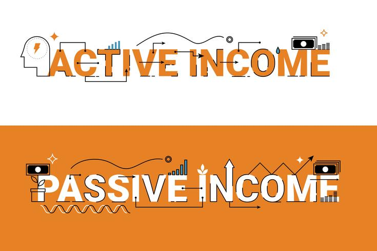 Ilustração de renda ativa e passiva vetor