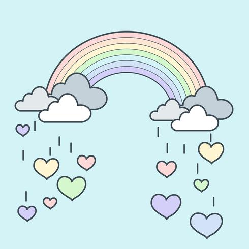 Coração de chuva de arco-íris vetor