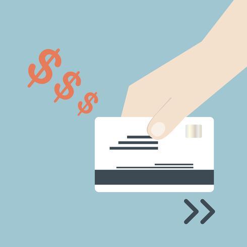swiping cartão de crédito vetor