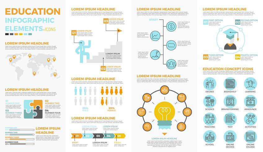 Elementos de infográfico de educação escolar vetor