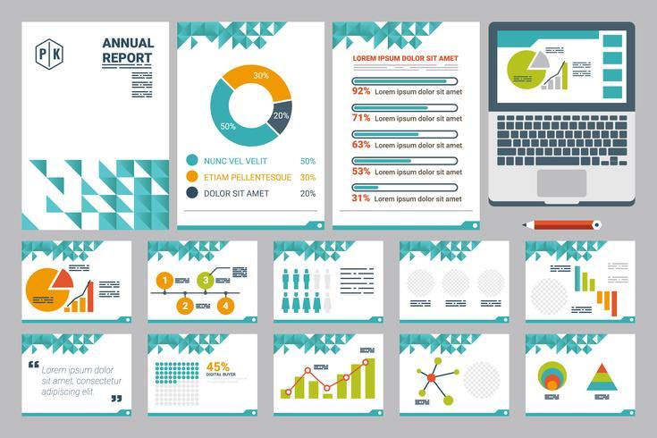 Folha de relatório anual de folha A4 e modelo de apresentação vetor