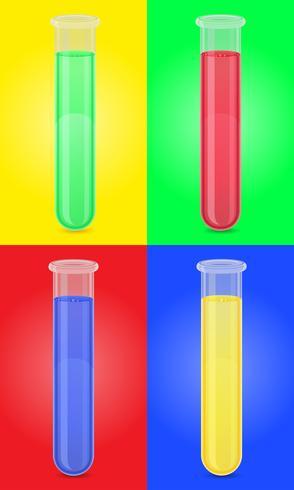tubo de ensaio de vidro com ilustração vetorial líquido de cor vetor