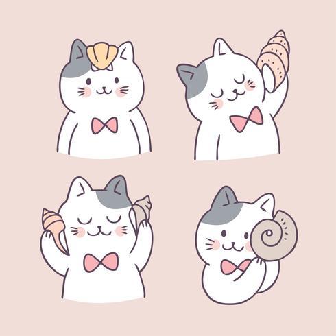 Vetor bonito do gato e do shell do verão dos desenhos animados.