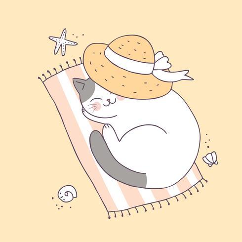 Vetor bonito do sono do gato do verão dos desenhos animados.