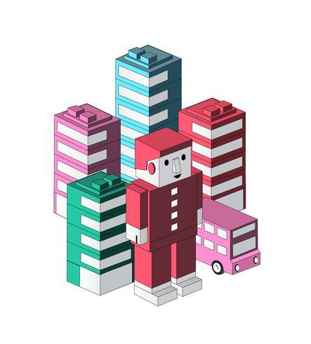 Robô de desenhos animados de brinquedo vetor
