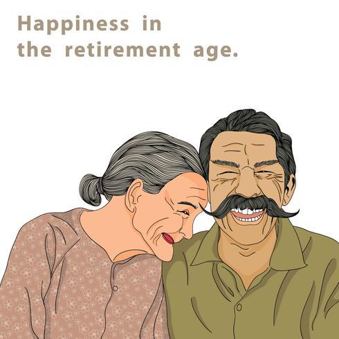 Felicidade na idade de aposentadoria vetor