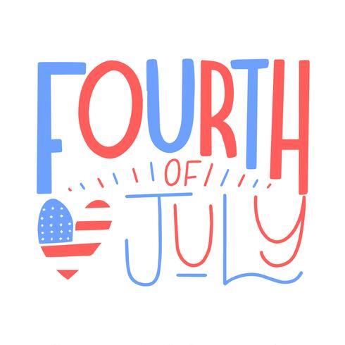 Lettering bonito sobre quatro de julho com coração vetor