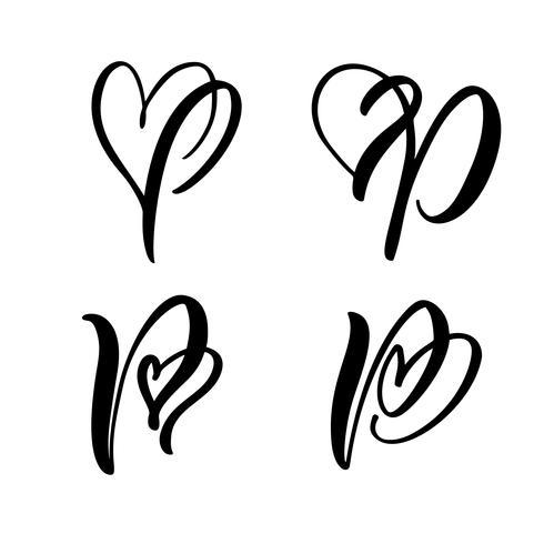 Grupo do vetor de flourish floral do Valentim do elemento da caligrafia do monograma P. da letra do vintage. Entregue o sinal tirado do coração para a decoração da página e projete a ilustração. Cartão de casamento amor para convite