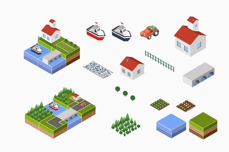 campo com fazenda vetor
