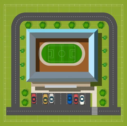 Vista superior do estádio da cidade vetor