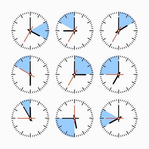 Movimentos e relógios vetor