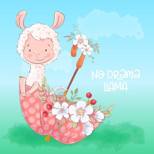 Ilustração de um lama bonito em um guarda-chuva com flores. Mão desenhar vetor