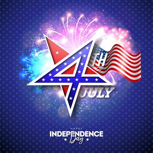 4 de julho dia da independência da ilustração vetorial de EUA com 4 número no símbolo de estrela. 4 de julho nacional celebração Design com padrão de bandeira americana no fundo de fogos de artifício vetor