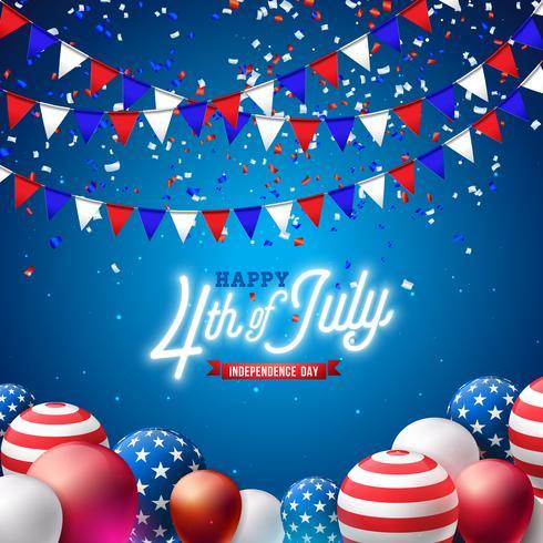 4 de julho dia da independência da ilustração vetorial de EUA. 4 de julho americano nacional celebração Design vetor