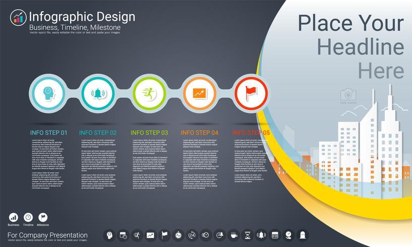 Modelo de infográficos de negócios, cronograma milestone ou roteiro com opções de fluxograma de processo 5. vetor