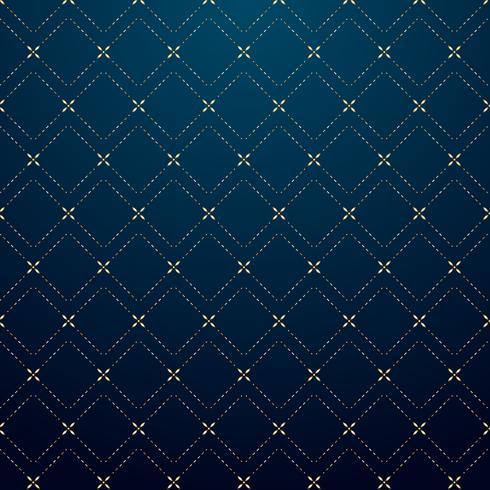 Linha geométrica abstrata teste padrão do traço do ouro dos quadrados na obscuridade - estilo azul do luxo do fundo. vetor
