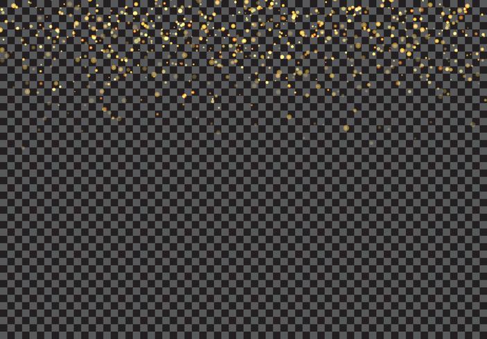 Efeito de queda das partículas do brilho do ouro no fundo transparente. vetor