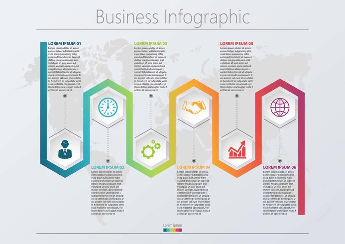 Visualização de dados corporativos. ícones de infográfico timeline projetados para modelo abstrato com 6 opções. vetor